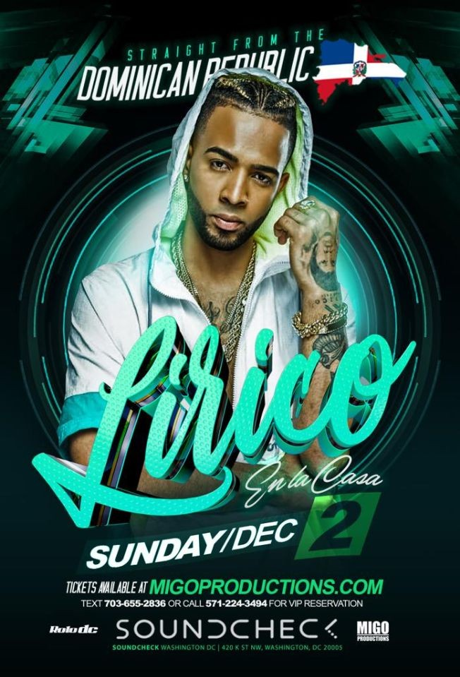Flyer for LIRICO EN LA CASA EN VIVO! AT SOUNDCHECK DC |TICKETS AVAILABLE AT DOOR