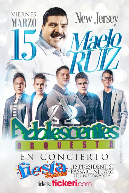 Flyer for MAELO RUIZ Y ORQUESTA ADOLESCENTES EN NEW JERSEY
