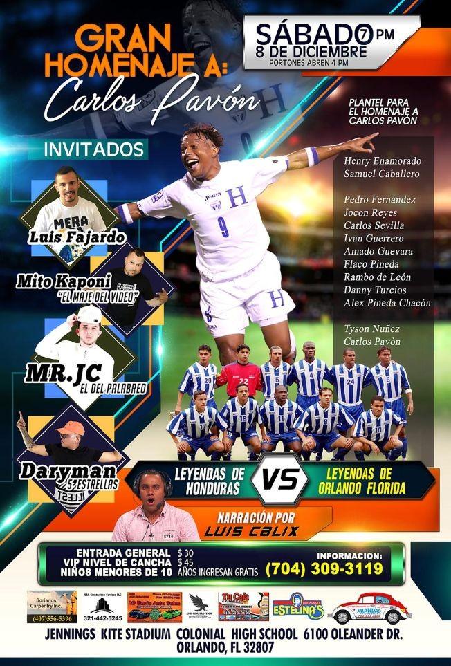 Flyer for Leyendas de Honduras vs. Leyendas de Orlando en Orlando,FL