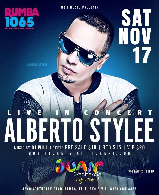 Flyer for Alberto Stylee Live In Concert