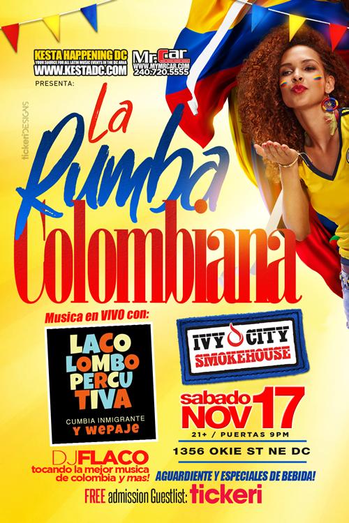 Flyer for La Rumba Colombiana en Washington DC