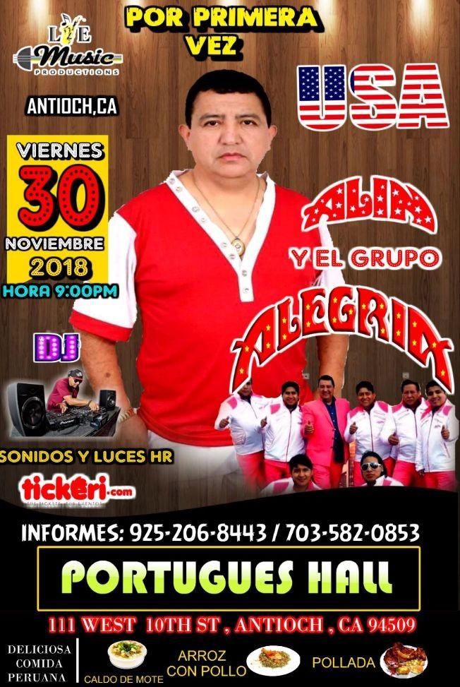 Flyer for ALIN Y EL GRUPO ALEGRIA EN CONCIERTO EN  ST. ANTIOCH,CA