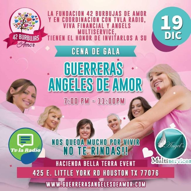 "Flyer for CENA DE GALA "" GUERRERAS ANGELES DE AMOR """
