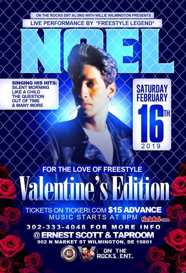 Flyer for FOR THE LOVE OF FREESTYLE VALENTINE'S EDITION STARRING FREESTYLE LEGEND NOEL