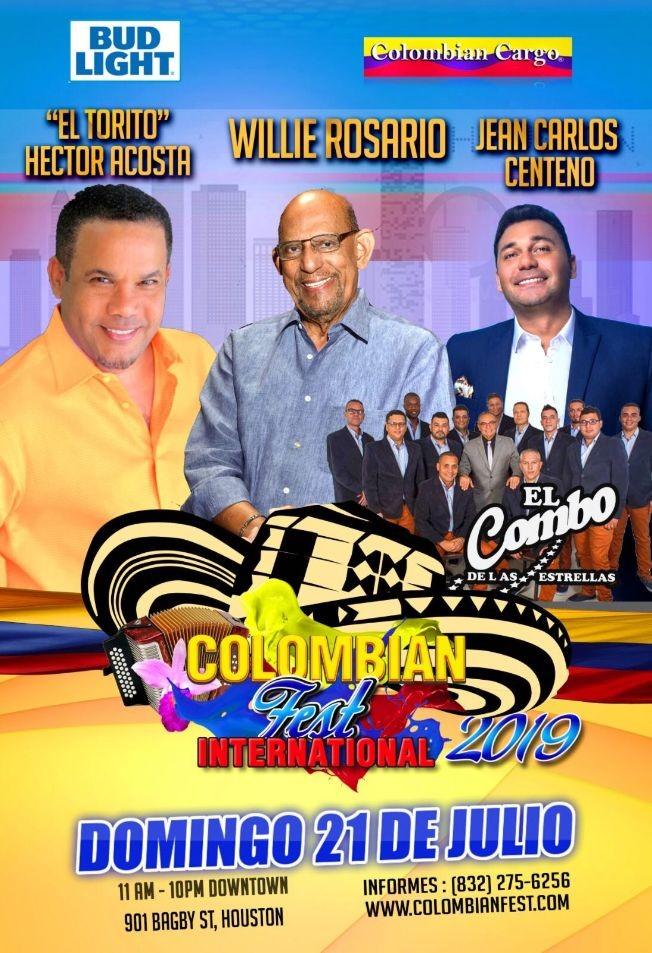 Flyer for Colombian Fest Houston 2019 con Willie Rosario, Jean Carlos Centeno, Hector Acosta, El Combo de las Estrellas y mas!