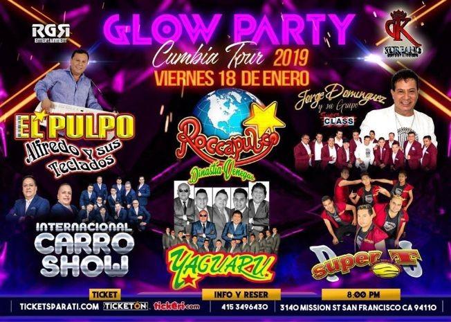 Flyer for Glow Party Cumbia Tour en San Francisco
