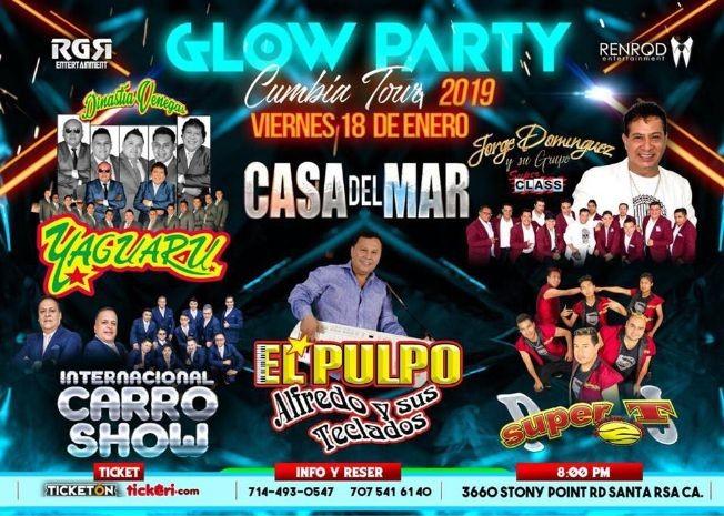 Flyer for Glow Party Cumbia Tour en Santa Rosa