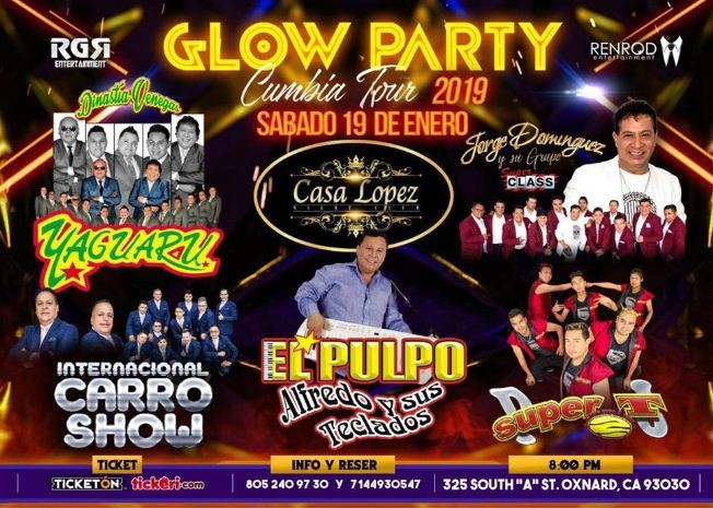 Flyer for Glow Party Cumbia Tour en Oxnard