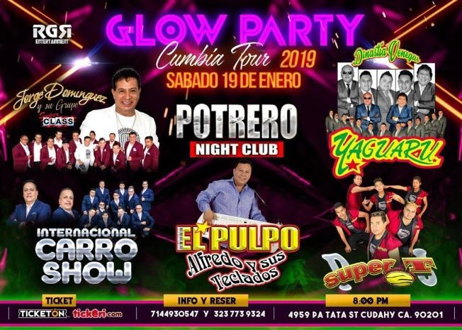 Flyer for Glow Party Cumbia Tour en Los Angeles