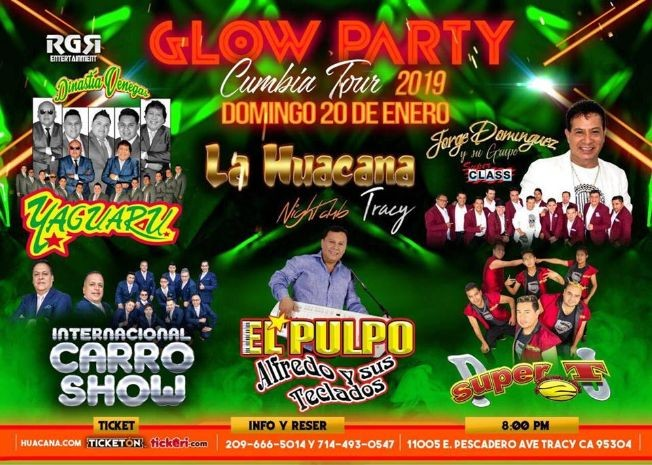 Flyer for Glow Party Cumbia Tour en Tracy