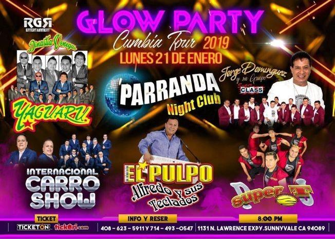 Flyer for Glow Party Cumbia Tour en Sunnyvale
