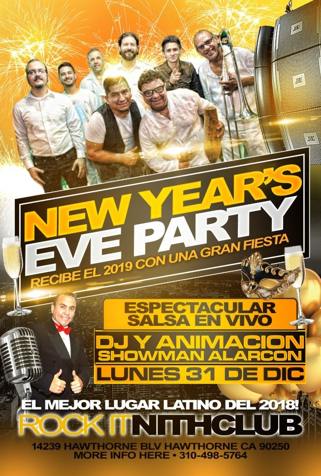 Flyer for 2019 New Years Party Celebration The Rock It Live Salsa