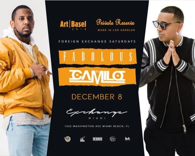 Flyer for Art Basel Weekend Fabolous Live With DJ Camilo At Exchange Miami