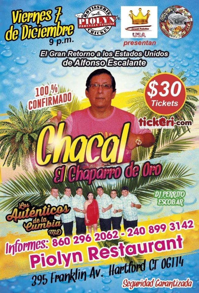 Flyer for Chacal el Chaparro de Oro en Hartford,CT