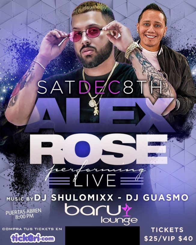 Flyer for ALEX ROSE EN VIVO EN NEW JERSEY BARU LOUNGE
