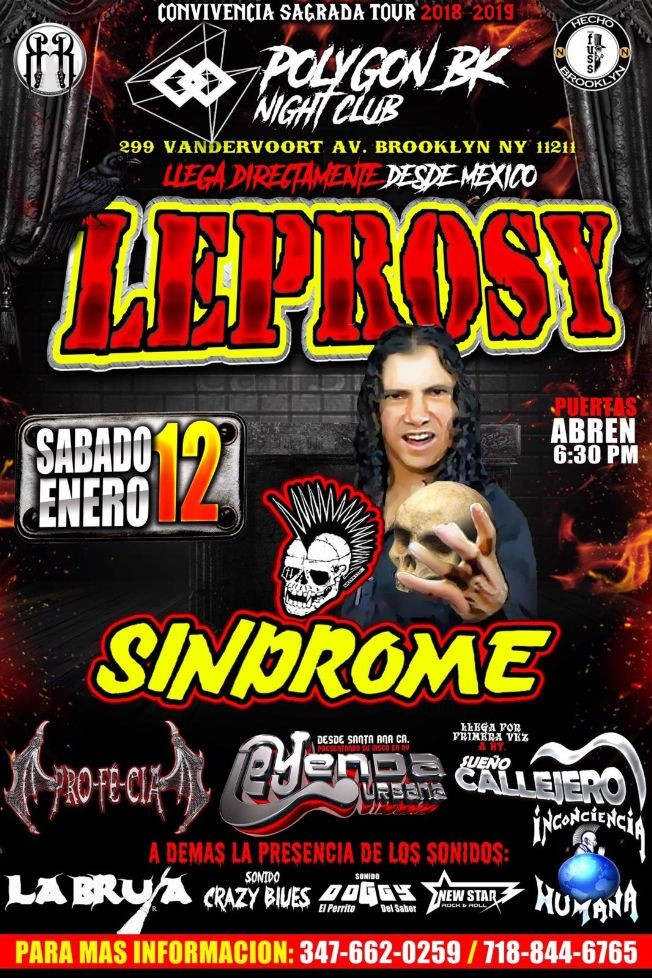 Flyer for LEPROSY EN NUEVA YORK -Convivencia Sagrada Tour 2018-2019