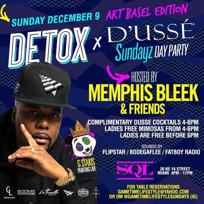 Flyer for Art Basel Edition Detox D'usse Memphis Bleek Live At SQL