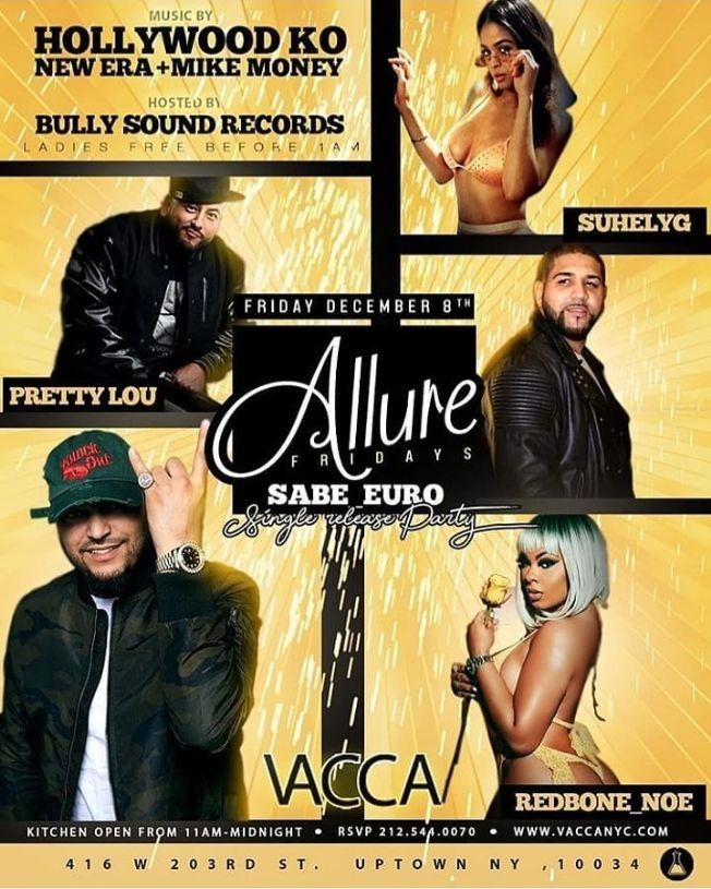 Flyer for Allure Fridays Sabe Euro Single Release Party At Vacca Lounge