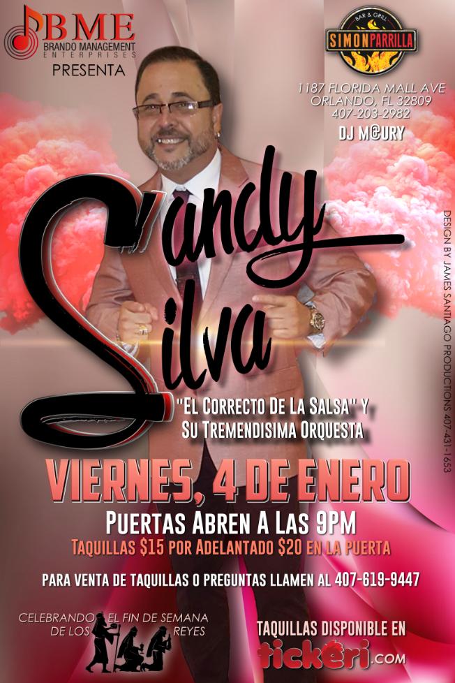 """Flyer for Sandy Silva """"El Correcto De La Salsa"""""""