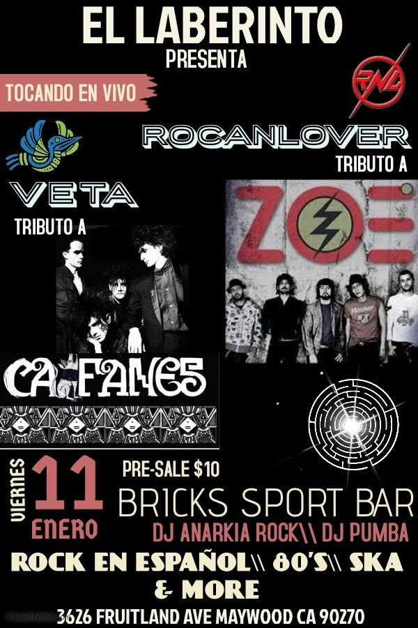 Flyer for CAIFANES \\ ZOÉ Live Tribute Night!!