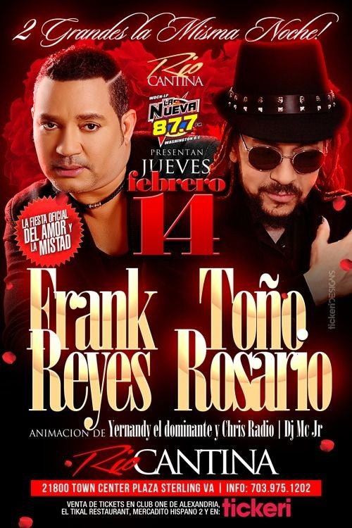 Flyer for FRANK REYES Y TOÑO ROSARIO EN STERLING,VA
