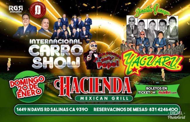 Flyer for Internacional Carro Show & Yaguaru en Salinas,CA