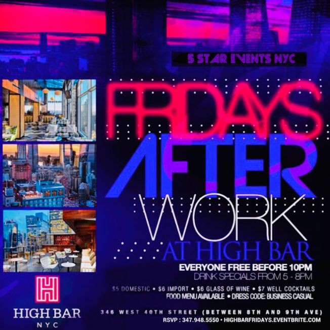 Flyer for Happy Hour AfterWork Fridays