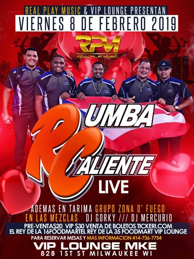 Flyer for RUMBA CALIENTE VALENTINES DAY PARTY @ VIP LOUNGE MKE