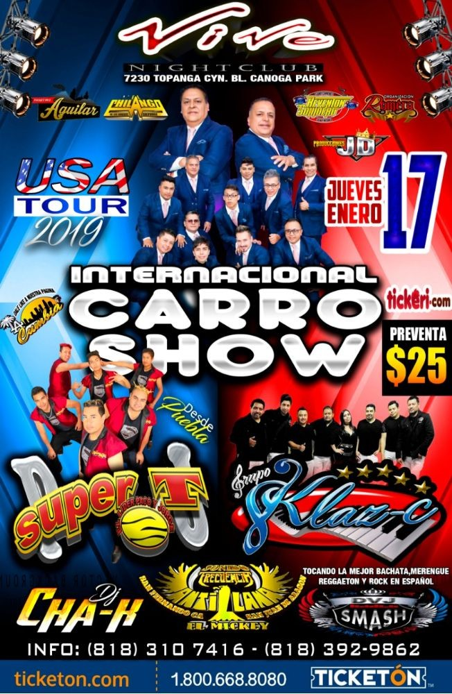 Flyer for Internacional Carro Show & Super T en Canoga Park,CA