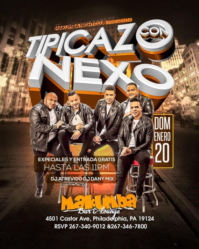 Flyer for Tipicazo con Nexo en Philadelphia,PA