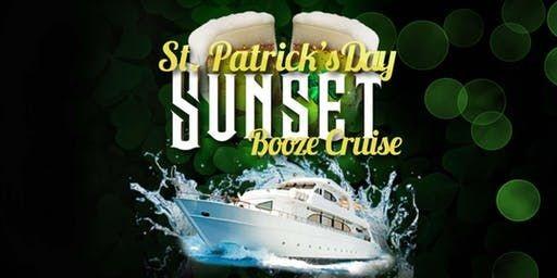 Flyer for NYC St. Patricks Day Sunset Booze Cruise at Skyport Marina Jewel Yacht