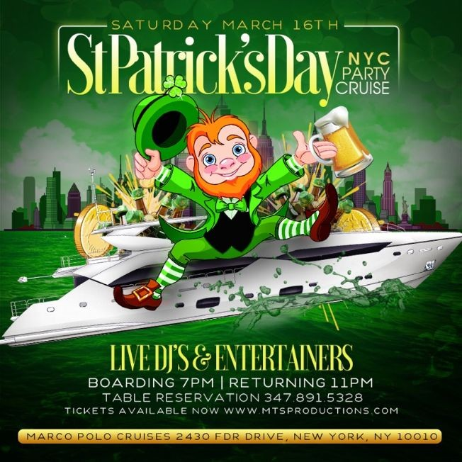 Flyer for St.Patrick's Day Party Cruise At Jewel Yacht