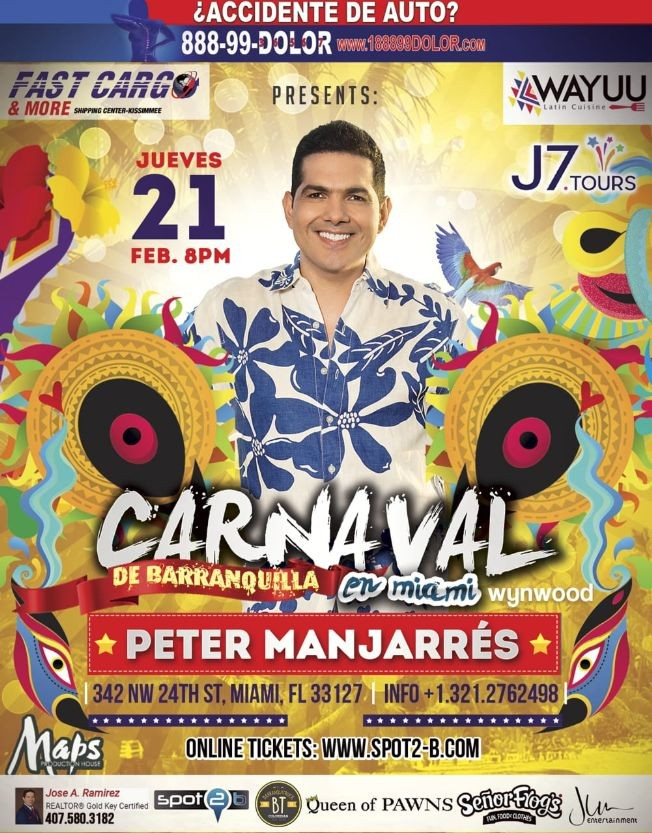"Flyer for Carnaval De Barranquilla ""Peter Manjarres"" Maps Miami-Wynwood"