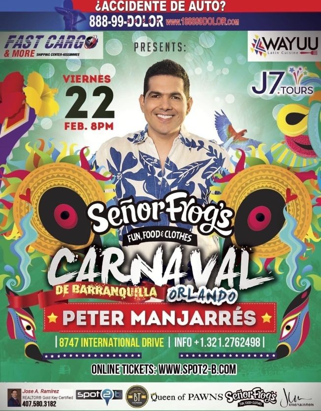 "Flyer for Carnaval De Barranquilla ""Peter Manjarres"" Senor Frogs Orlando"