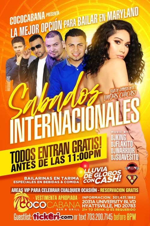 Flyer for SABADOS INTERNACIONALES EN HYATTSVILLE,MD