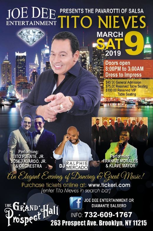 Flyer for Tito Nieves, an Elegant Evening of Dancing & Great Music!