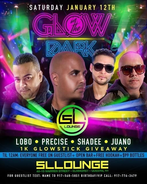Flyer for Glow In The Dark Party At SL Lounge