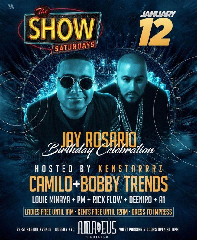 Flyer for Show Saturdays DJ Camilo Live With DJ Bobby Trends At Amadeus Nightclub