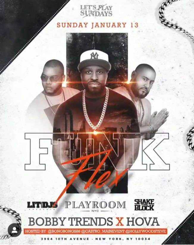Flyer for Let's Play Sundays DJ Bobby Trends Live With Funkflex At Playroom Lounge NYC