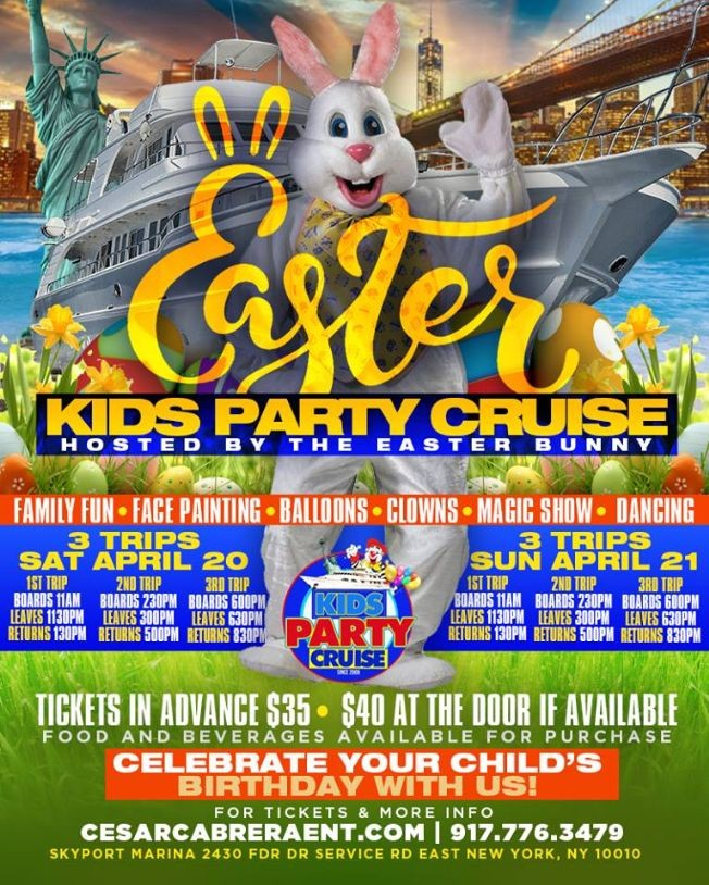 Flyer for Easter Kids Boat Party Cruise (11:00 AM-1:30 PM)