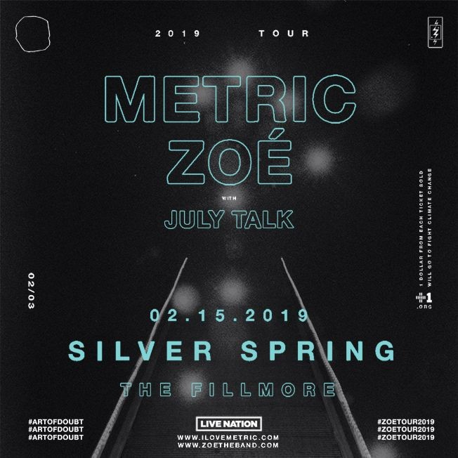 Flyer for Metric & Zoe en Silver Spring,MD