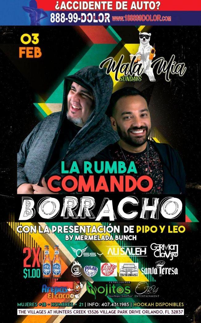 Flyer for La Rumba Comando Borracho con Pipo & Leo en Orlando,FL
