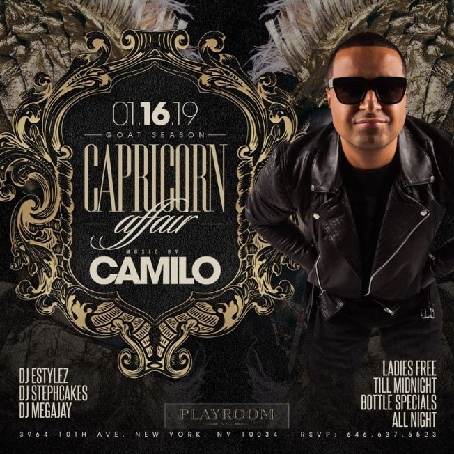 Flyer for Capricorn Affair DJ Camilo Live At Playroom Lounge NYC