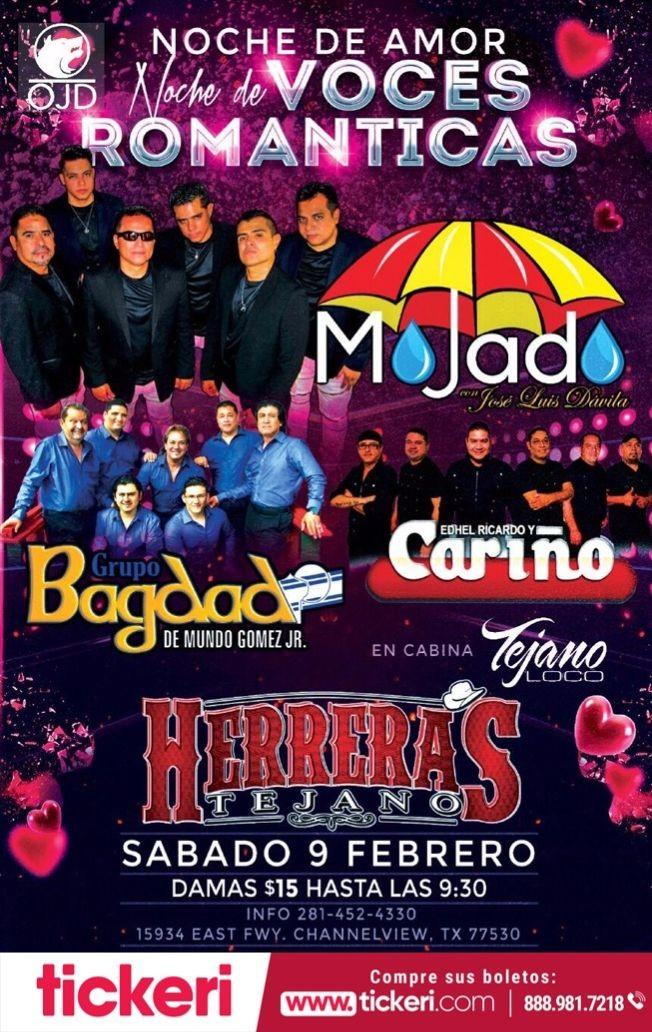 Flyer for Grupo Mojado, Grupo Bagdad, Grupo Cariño en Concierto en CHANNELVIEW,TX