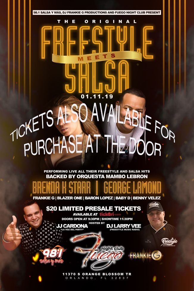 Flyer for Freestyle Meets Salsa Featuring Brenda K. Starr & George Lamond