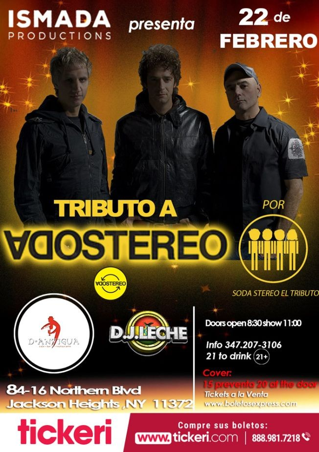 Flyer for Tributo a Soda Stereo en Jackson Heights,NY