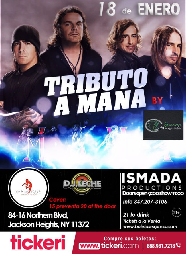 Flyer for Tributo a Mana en Jackson Heights,NY