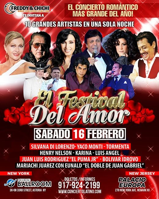 Flyer for EL FESTIVAL DEL AMOR 2019 EN NEW YORK - Silvana - Yaco Monti - Luis Angel - Tormenta - Henry Nelson - Karina Leo - El Puma Jr. -