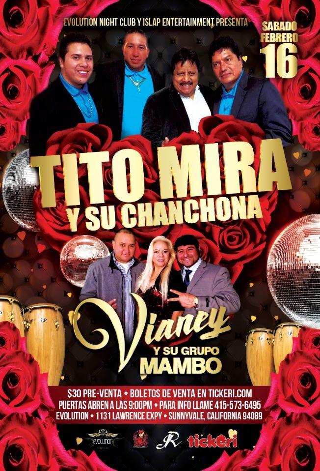 Flyer for Evolution Presenta: Tito Mira y Su Chanchona + Vianey Y Su Grupo mambo