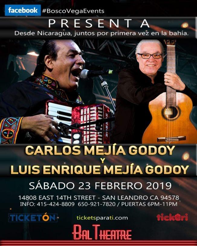 Flyer for Carlos Mejia Godoy & Luis Enrique Mejia Godoy en San Leandro,CA